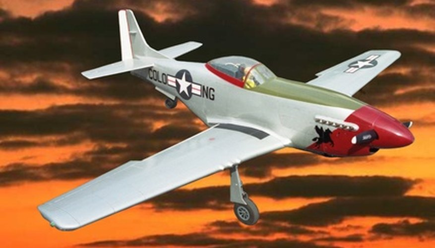 This basic P-51 is a flying model airplane which is popular with hobbyists.