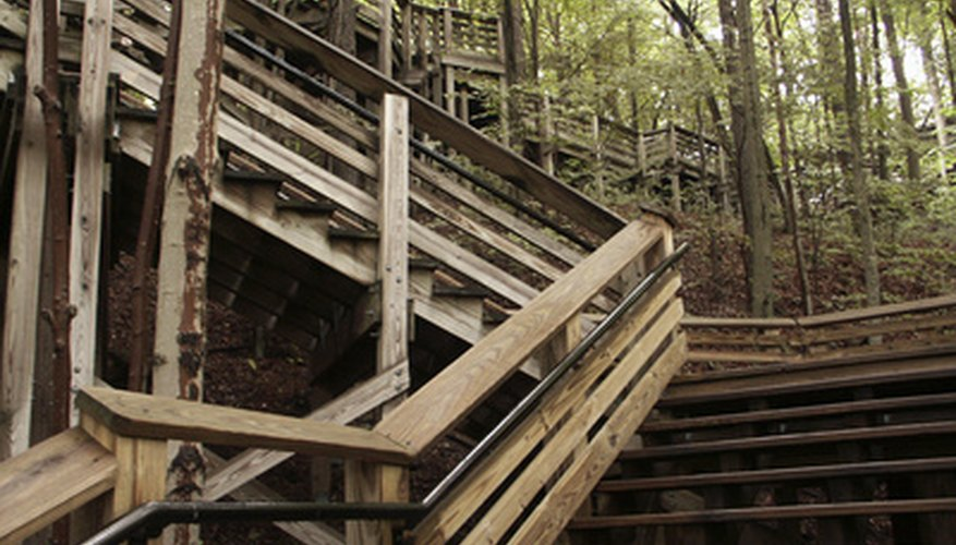 Stair railings can be made of several types of material.