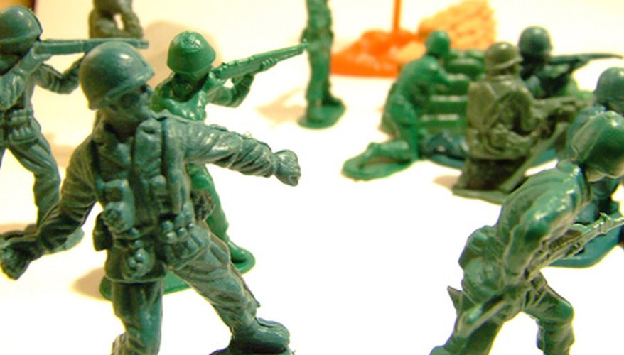 You can cast the soldiers in green plastic, or paint their faces and uniforms like traditional lead soldiers.