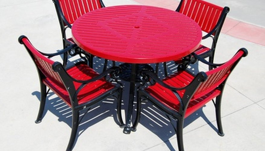 Refinish old patio furniture with rust-proof primer and paint.
