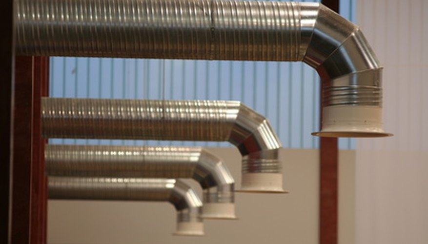 Straight metal ducting drops.