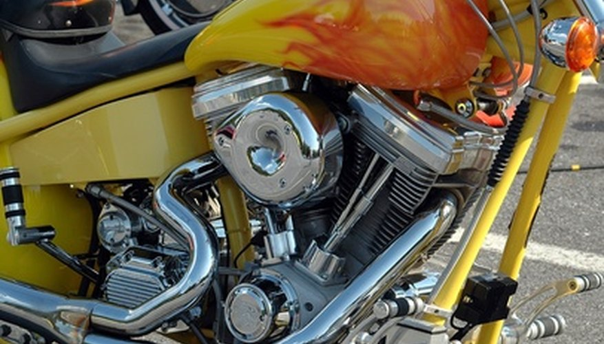 Many chopper motorcycles feature custom painted gas tanks.