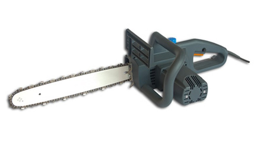 Electric chainsaws have a toolless adjuster under the chain.