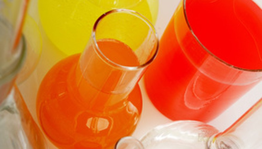 Differently colored liquids can be used on a spectrometer.