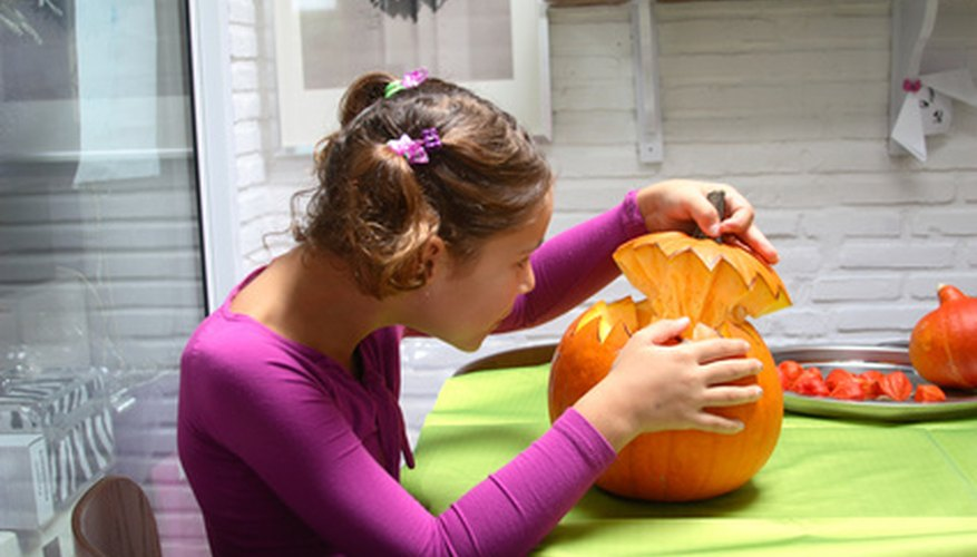3D Pumpkin carving works best when the bottom of the pumkin is removed.