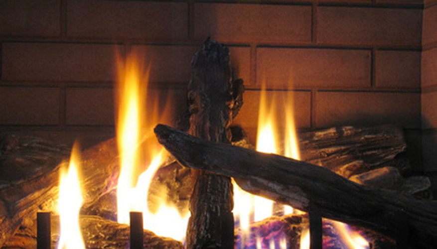 Logs in a gas fireplace appear to burn but do not.