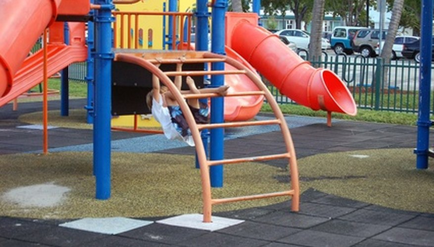 Playground with rubber pavers installed