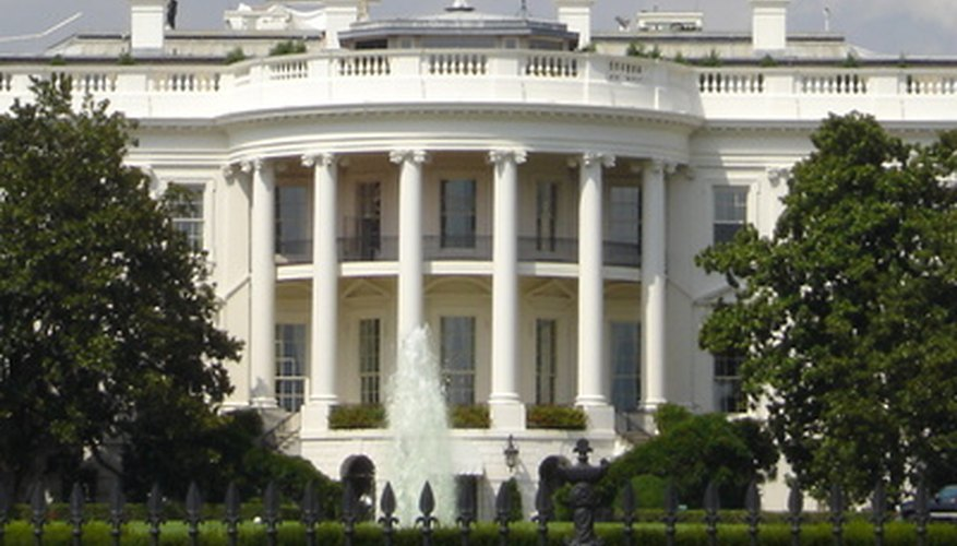 The White House has a round portico.