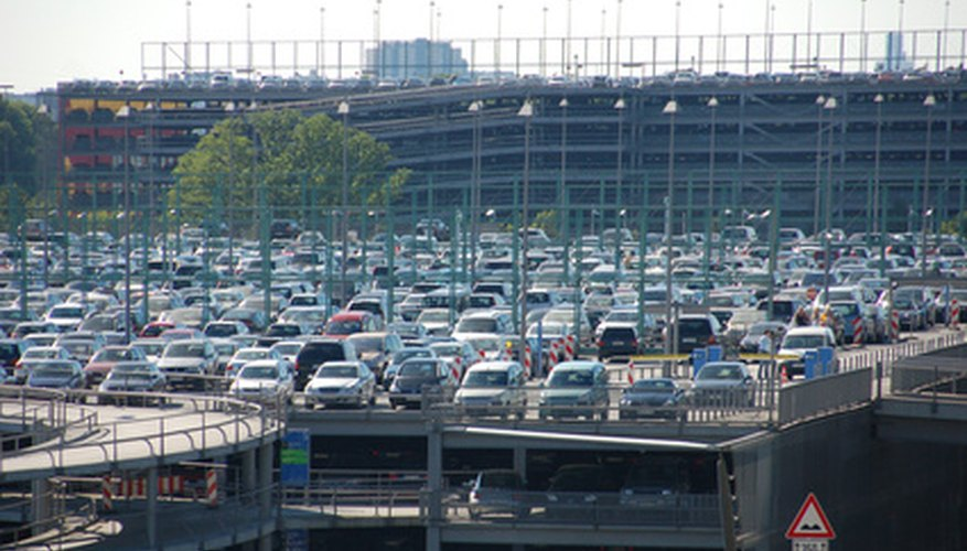 A large airport parking garage.