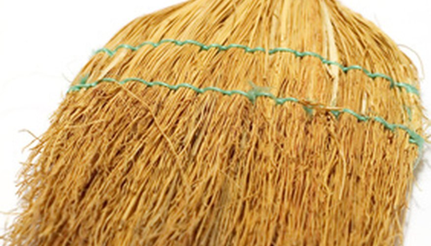A broom can be used to add traction and visual interest.