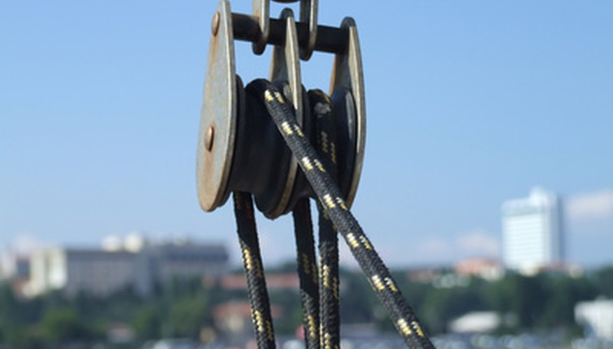 You can calculate the work efficiency of a machine such as a pulley.