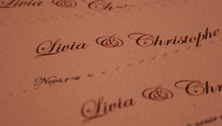 Wedding invitations are frequently hand-stamped.