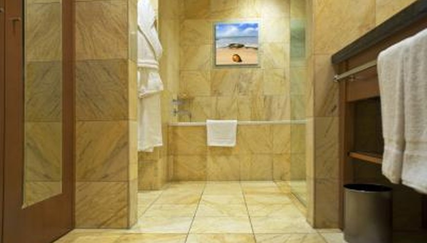 Stone floors are installed in tile.