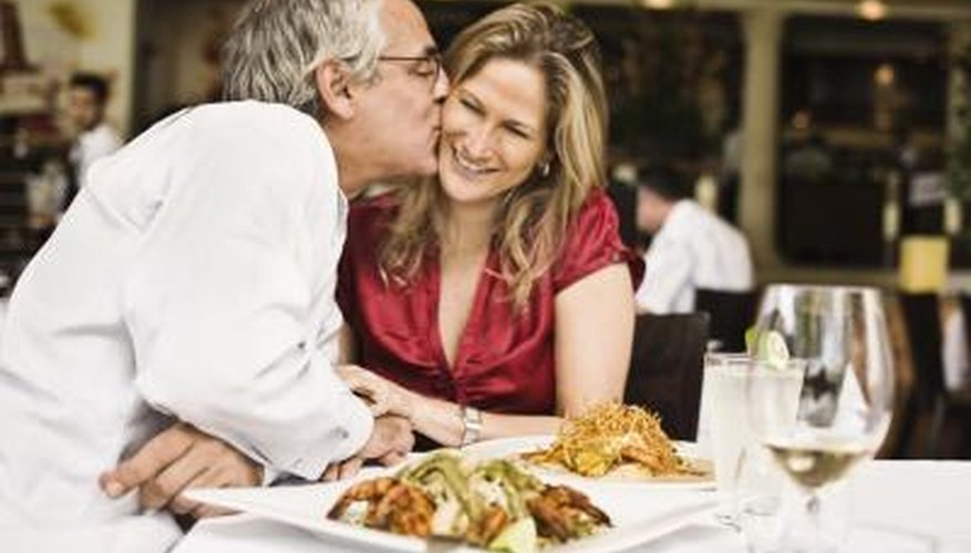 Couple dining at a restaurant.