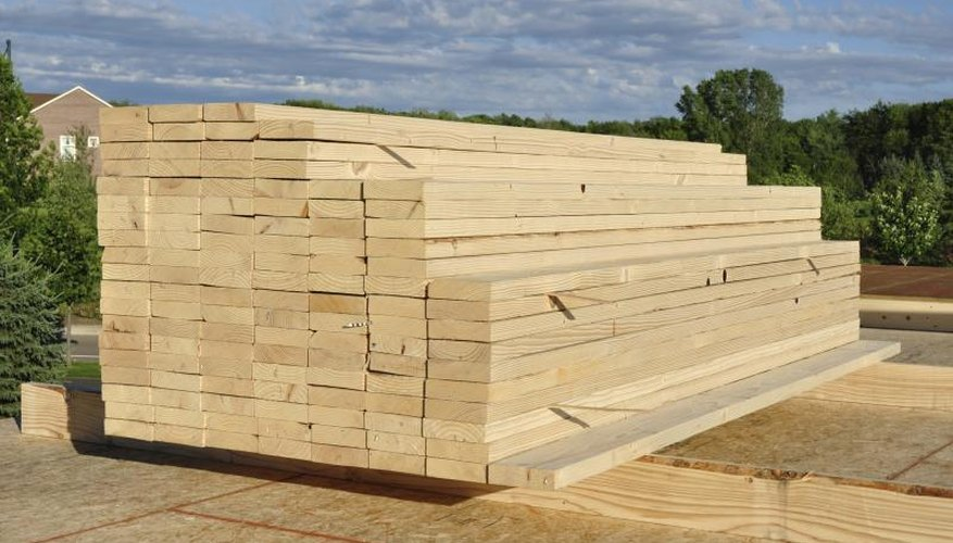 Stacks of lumber at a construction site