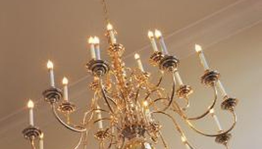 The chandelier must anchor to a brace that sits above the ceiling.