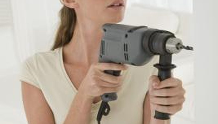 Wear eye safety glasses when using a drill.