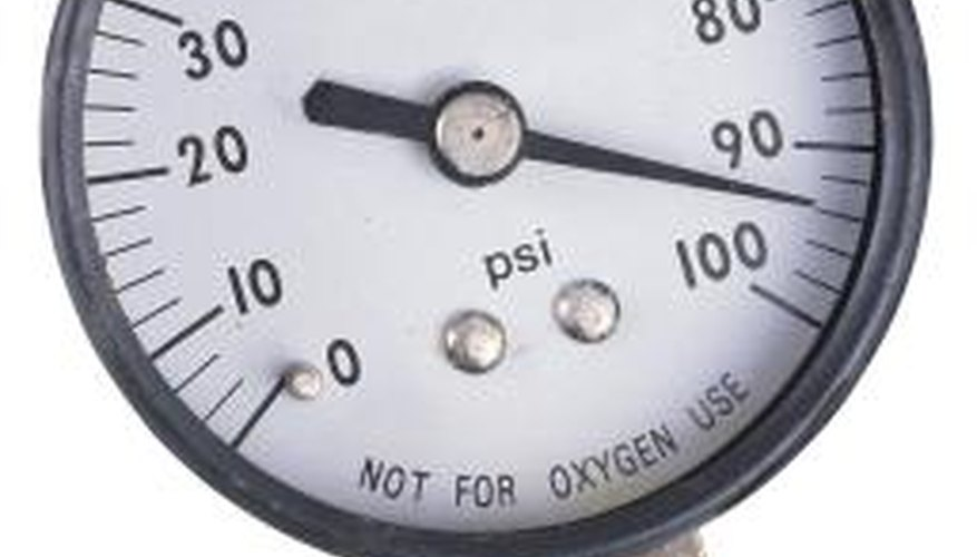 Observe the pressure gauge on a water well when you make adjustments to the pump control switch.