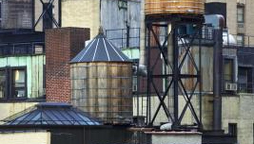 Roof-mounted water tanks are common on commercial buildings, but some homes have them as well.