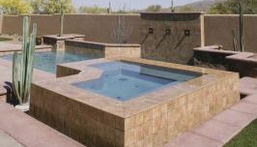 Adding a hot tub one step above pool level works well.