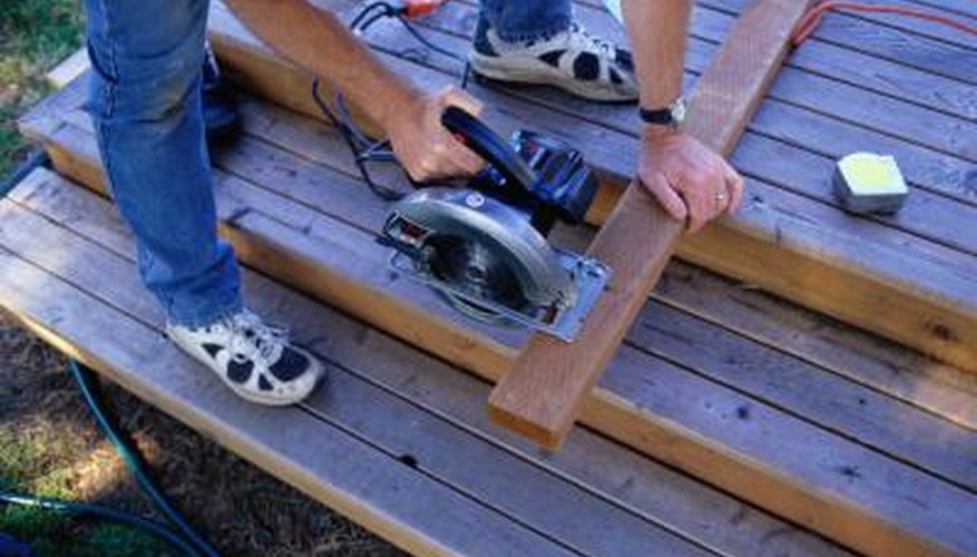 A circular saw can create miter cuts on deck framing.