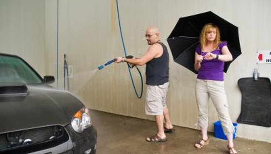 A pressure washer can be used to clean vehicles and homes.