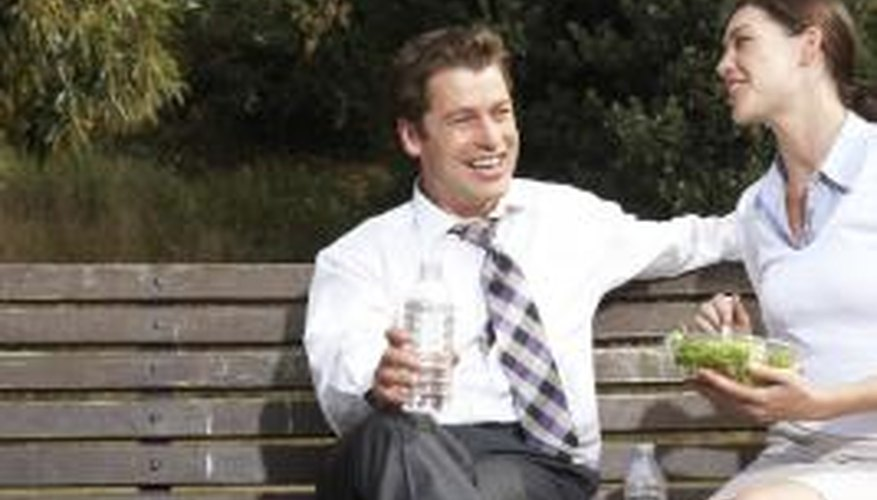 Find a bench near the office for a lunch-hour date.