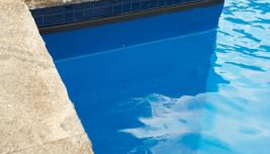 Travertine is a high-end pool edging material.