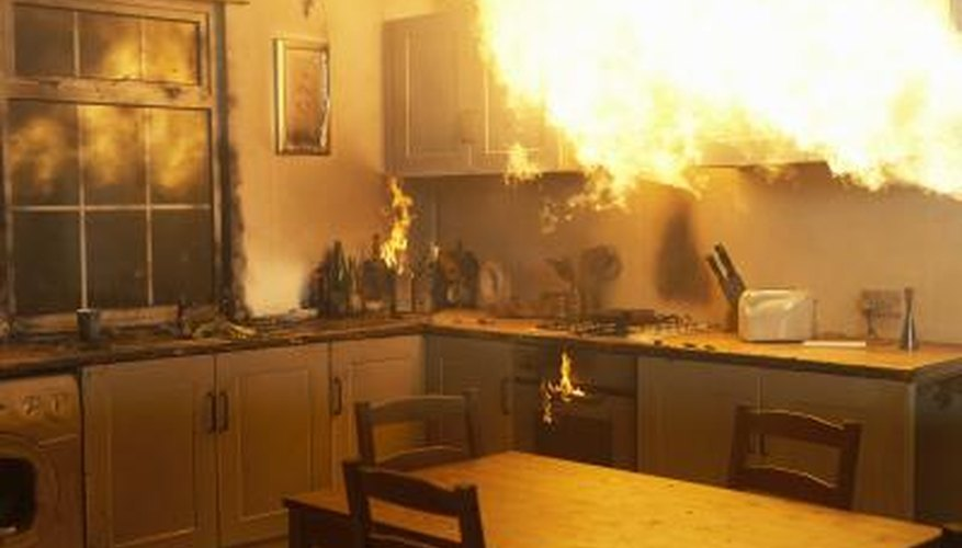 Kitchen grease fires should never be extinguished with water.
