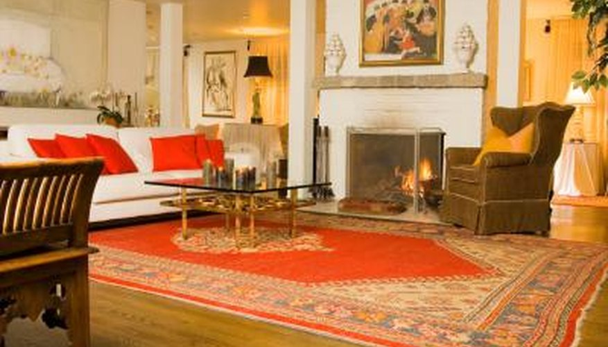 An area rug defines a space within a room.