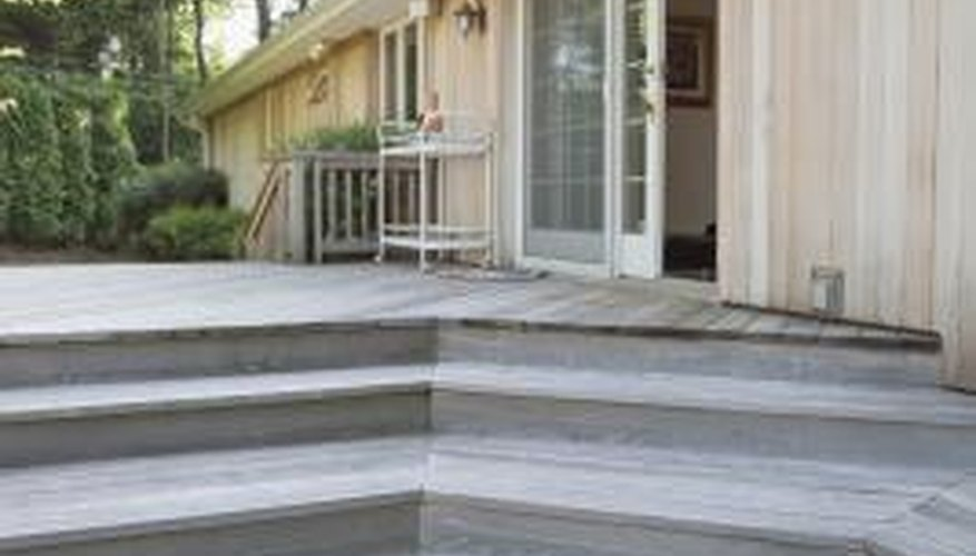 Steps can cascade from the corner of a low-level deck.