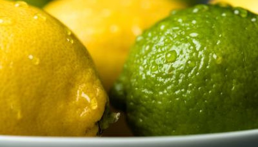 Lemons are yellow  and limes are green.