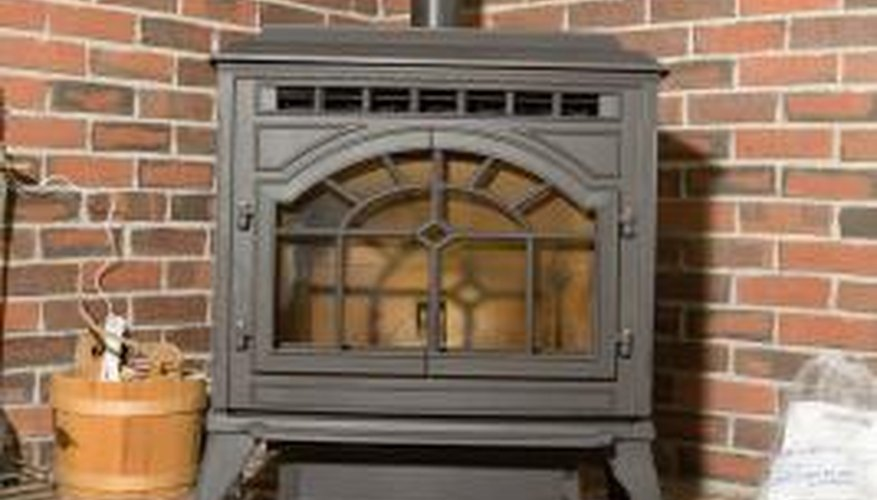 A corner location is a good spot for a wood stove stand.