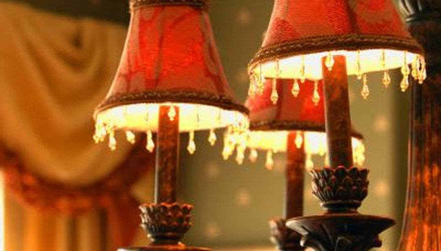Victorian-style lamps and heavy drapery.
