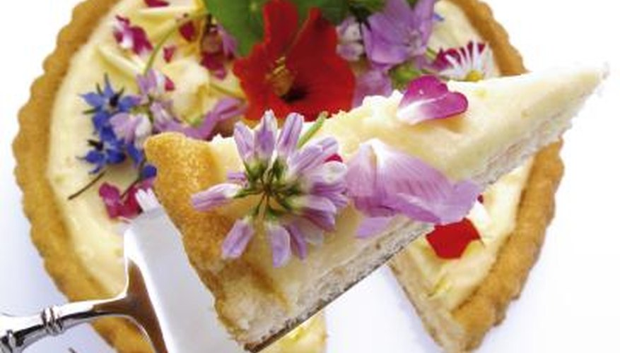 Edible flowers add a decorative touch to desserts and entrees.
