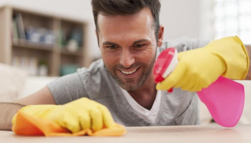 A gentle soap solution is best for cleaning oak furniture.