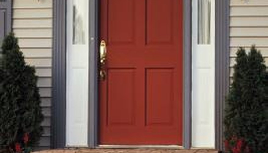 Give your composite front door the appearance of real wood with wood stain.