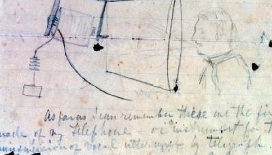 Alexander Graham Bell's telephone idea sketch