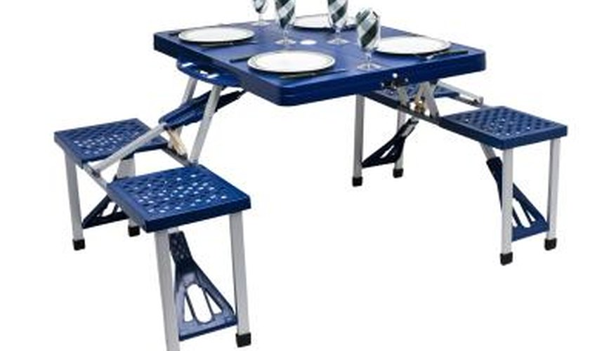 Outdoor patio furniture sets are often made of plastic because of its ease of care.