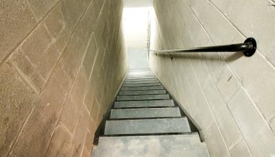 A handrail allows an extra degree of safety when climbing the stairs.
