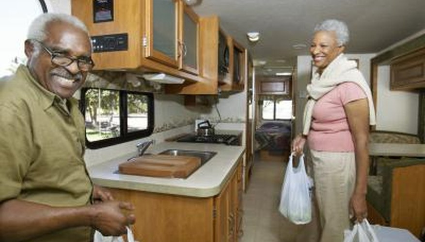 Kitchen cabinets in an RV make food storage much easier.