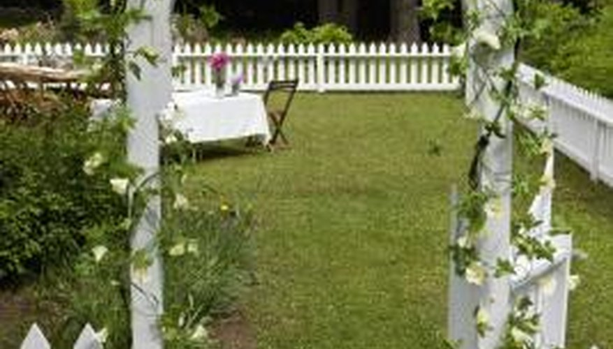 Tall gate posts are often used to support overhead arches or trellises.