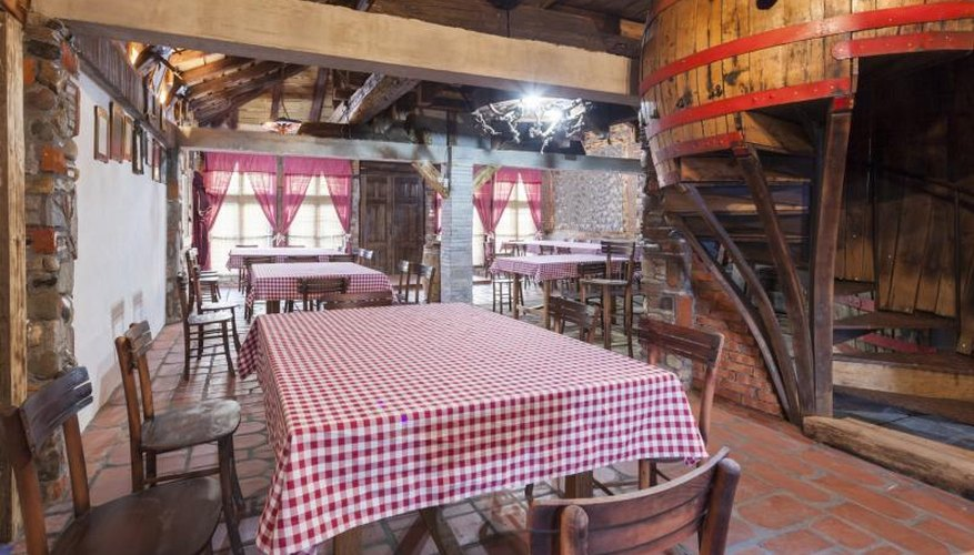 Gingham tablecloths in country restaurant