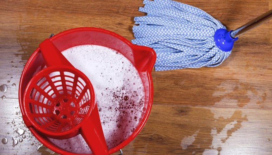 Wring your mop out well before mopping your hardwood floor.