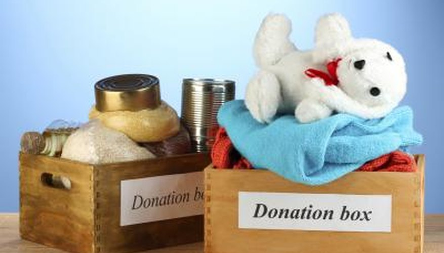 Two boxes full of donation gifts