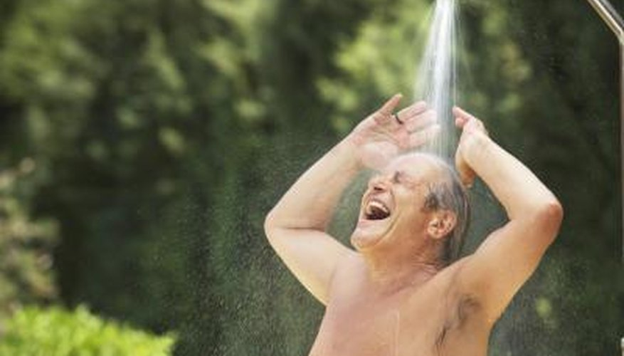 Dimensions are irrelevant for outdoor showers without walls.