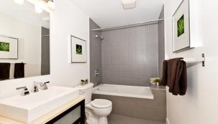 Modern styled bathroom with artwork