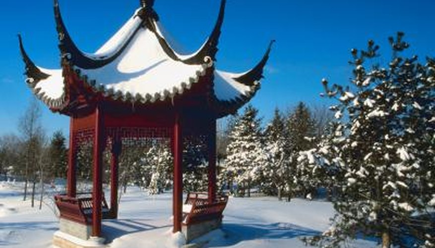 A pagoda is an Asian-style gazebo that provides shelter and is a focal point.