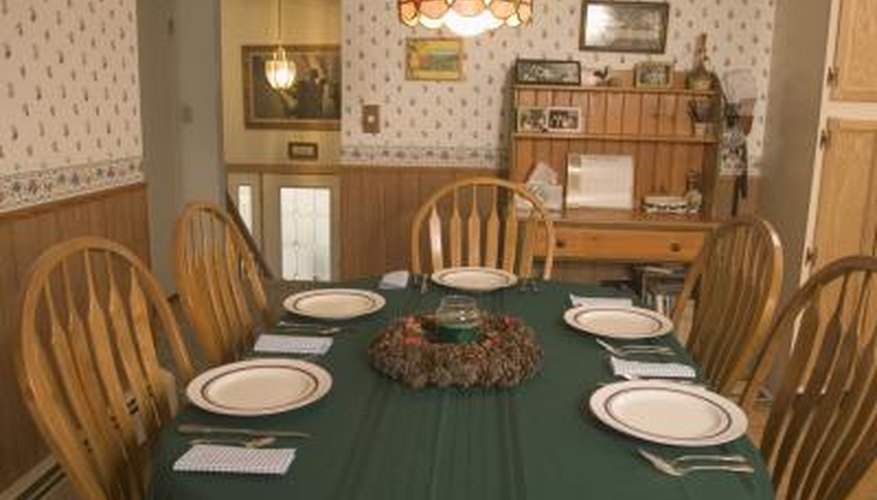 Cover a temporary table top with a tablecloth for an instant finish.