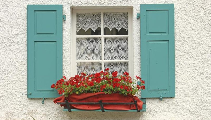 Red flowers in a window box between wood shutters painted turquoise..